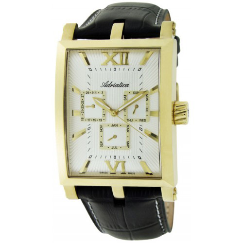 Adriatica Portofino Steel Case PVD Leather Strap Men's Watch