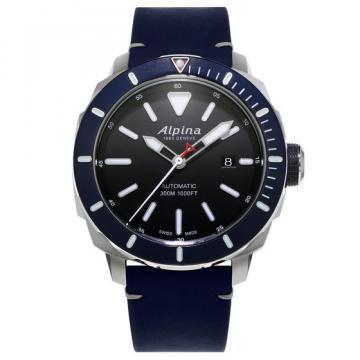 Alpina Seastrong Diver 300 Automatic Lether Strap Diver's Watch
