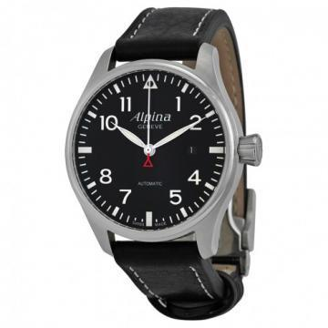 Alpina Startimer Aviation Leather Strap Watch