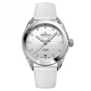 Alpina Comtesse Sport White Leather Strap Women's Watch