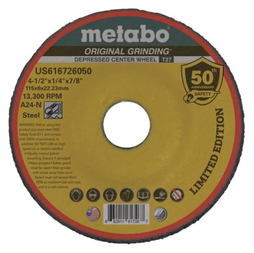 "Metabo 4-1/2"" x 1/4"" Depressed Center Wheel, Aluminum Oxide, Type 27"