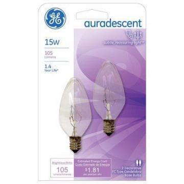 GE 15W Candelabra base Auradescent Decor Bulb