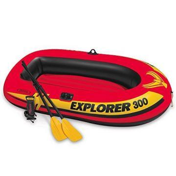 Intex Explorer 300, 3-Person Inflatable Boat w/French Oars & High Output Pump
