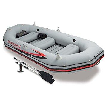 Intex Mariner 4, 4-Person Inflatable Boat w/Aluminum Oars & High Output Pump