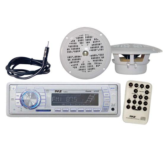 Pyle KTMRGS29 Marine AM/FM MPX Radio SD/USB Player and Dual Cone Speakers