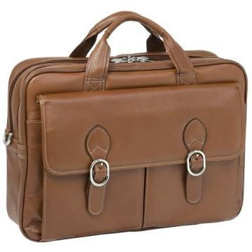 McKleinUSA Brown Kenwood Leather Double Compartment Laptop Case