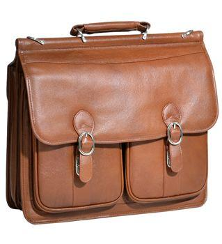 McKleinUSA Brown Hazel Crest Leather Double Compartment Laptop Case