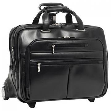 "McKleinUSA Ohare Leather Checkpoint-friendly 17"" Rolling Laptop Case"