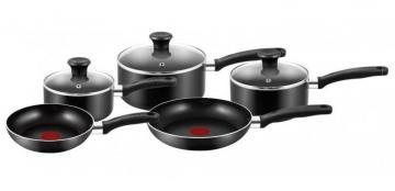 Tefal Essential Cookware 5-Piece Saucepan and Thermospot Frying Pan Set