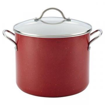 Farberware Speckled Aluminum Nonstick Covered Stockpot, Red