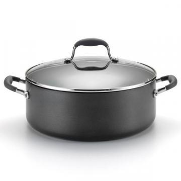"Anolon Hard-anodized Nonstick 7.5"" quart Grey Covered Wide Stockpot"