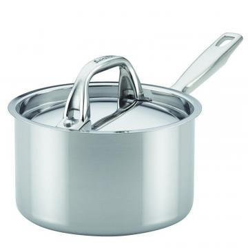 Anolon Tri-Ply Clad Stainless Steel Covered Saucepan, 2-Quart