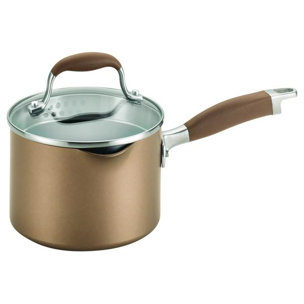 Anolon Bronze Hard-anodized Nonstick 2-quart Covered Straining Saucepan