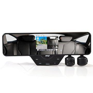 Pyle Rearview Mirror Dual Car Dash Camera Recorder