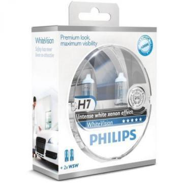 Philips WhiteVision 4300K Halogen Bulbs Xenon Effect (H7 Twin Pack)