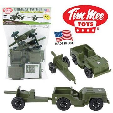 Tim Mee COMBAT PATROL Willys & Artillery: Green 4pc Playset
