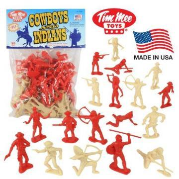 Tim Mee COWBOYS and INDIANS Plastic Figures: 40pc Playset