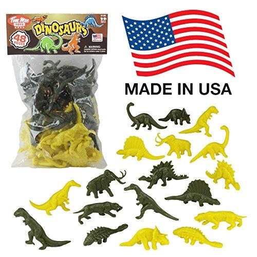 Tim Mee Plastic DINOSAUR Figures: Green & Yellow 48pc Dino Set