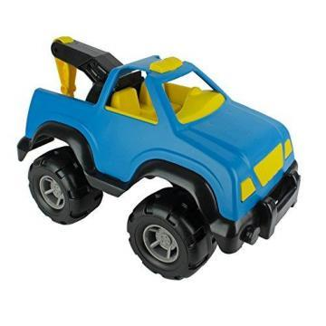 Tim Mee Big Plastic Tow Truck Blue w/ Yellow Interior