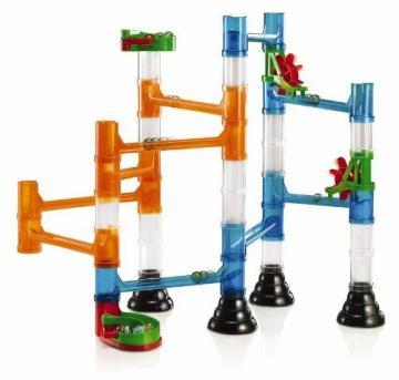 Quercetti Transparent Marble Run - 45 Piece Basic Building Set