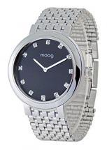 Moog Paris Caresse Women / Men Watch with black dial, silver strap