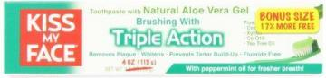 Kiss My Face Triple Action Aloe Vera Toothpaste, Cool Mint Freshness
