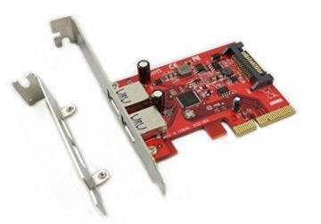 Ableconn PUSB31P2A USB 3.1 2-Port Type-A PCIe x4 Host Adapter Card