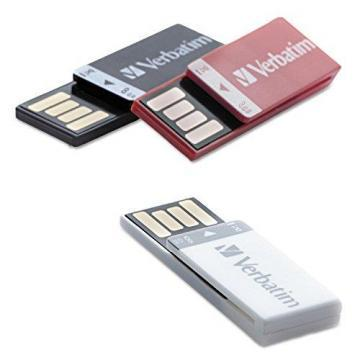 Verbatim Clip-it USB 2.0 Flash Drive, 8GB, Black/Red/White, 3/Pack