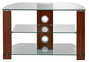 TTAP Group Clear Glass and Walnut 3 Shelf TV Stand - 1050x500x400mm