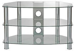 TTAP Group Clear Curved Glass 3 Shelf TV Stand - 600x480x400mm
