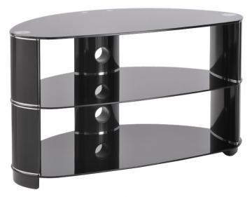 TTAP Group Black Glass Tempo 3 Shelf TV Stand - 850x490x448mm