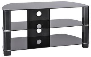 "TTAP Group Black Glass 3 Shelf TV Stand - Up To 60"" Screen"