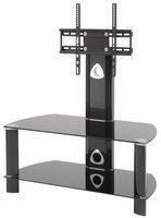 TTAP Group Black Glass 2 Shelf TV Stand with VESA Mount - 900x520x425mm