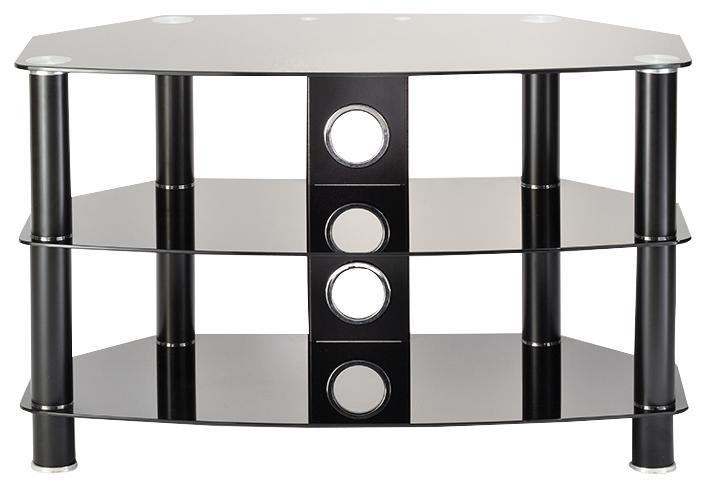 TTAP Group Black Curved Glass 3 Shelf TV Stand - 600x480x400mm