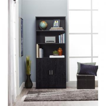 Ameriwood Home Moberly Black Ebony Ash Bookcase with Doors