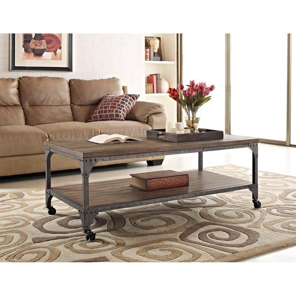 Ameriwood Altra Cecil Rustic Wood Veneer Coffee Table