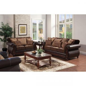 Furniture of America Traditional Franchesca Fabric-Leatherette Sofa Set