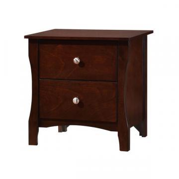 Furniture of America Raylee Modern Brown Cherry Curved 2-drawer Nightstand