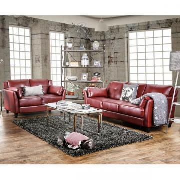 Furniture of America Pierson Double Stitched Leatherette Sofa and Loveseat Set