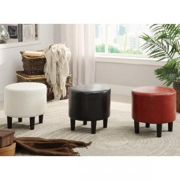 Furniture of America Ozzo Modern Leatherette Round Ottoman