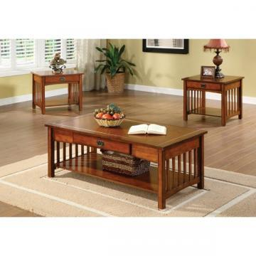 Furniture of America Nash Mission Style Antique Oak Finish Coffee Table Set