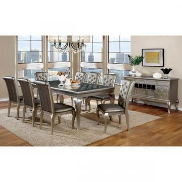 Furniture of America Mora Contemporary 9-piece Silver Dining Set