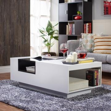 Furniture of America Kassalie Modern White/Black Glass Top Coffee Table