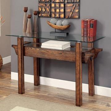 Furniture of America Charlotte Rustic Glass Top Sofa Table