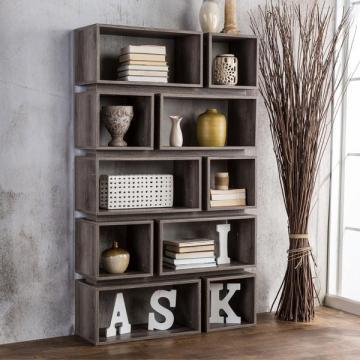 Furniture of America Cassidy Tiered Distressed Grey Open Bookcase