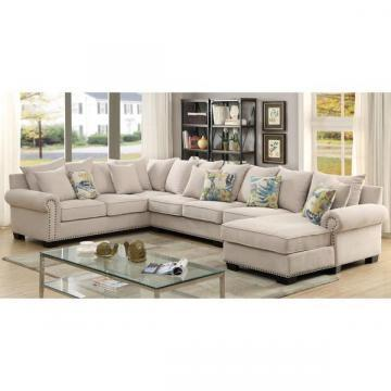 Peachy Furniture Of America Casana Transitional Ivory Upholstered Sectional Set Bralicious Painted Fabric Chair Ideas Braliciousco