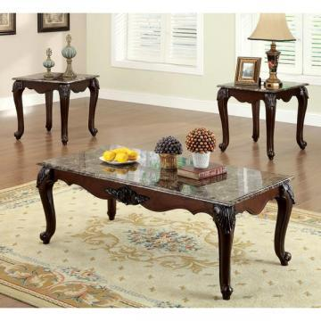 Furniture of America Callington Traditional Faux Marble Top Accent Table Set