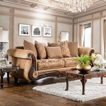 Furniture of America Ersa Traditional Wood Trim Chenille Gold/Bronze Sofa