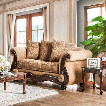 Furniture of America Ersa Traditional Wood Trim Chenille Gold/Bronze Loveseat