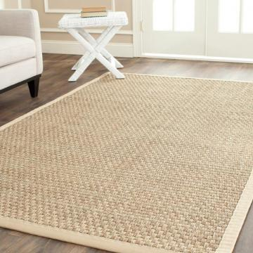 Safavieh Casual Natural Fiber Natural and Beige Border Seagrass Rug (4' x 6')
